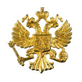 Golden russian  emblem. Golden russian emblem, isolated over white background Royalty Free Stock Images