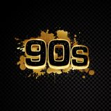 Golden 90s abstract design isolated on black background stock illustration