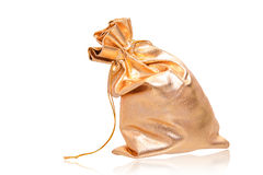 Golden sack over white. Golden full sack isolated over white Royalty Free Stock Images