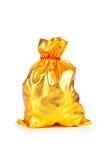Golden sack on white Stock Photos
