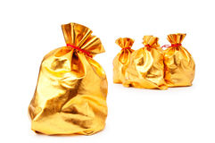 Golden sacks full of good. Golden sacks full of something good royalty free stock images