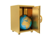 Golden safe deposit and Earth. Isolated on white background Stock Photo