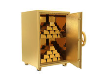 Golden safe deposit with golden bars Stock Images