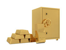 Golden safe deposit and group od golden bars Royalty Free Stock Photography