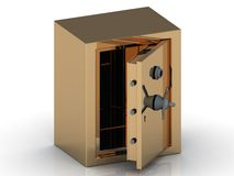 Golden safe with the door open Stock Image