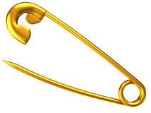 Golden safety pin Stock Photo
