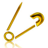 Golden safety pin icon Stock Image