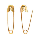 golden safety pin Stock Photos