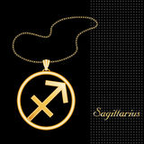 Golden Sagittarius Necklace. Golden embossed horoscope symbol, necklace and gold chain, for the astrology Fire Sign, Sagittarius, textured black background Royalty Free Stock Image
