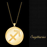 Golden Sagittarius Pendant Necklace. Golden Pendant Necklace with star burst design and gold chain, with the embossed Horoscope symbol for the astrology Fire Stock Photography