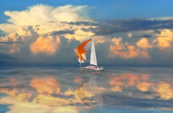 Golden sail. Royalty Free Stock Images