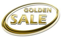 GOLDEN SALE. Gold, golden quality sale sign symbol on white background royalty free illustration