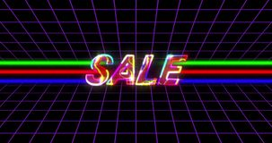 Golden Sale Advertisement on Retro Eighties Background 4k