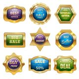 Golden Sale Badges Royalty Free Stock Photo