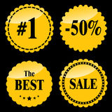 Golden Sale badges Royalty Free Stock Photography