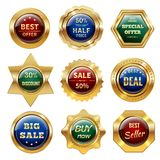 Golden Sale Labels Royalty Free Stock Photos