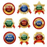 Golden Sale Labels Royalty Free Stock Images