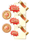 Golden sale labels. Golden sale, trial and free labels and ribbons Stock Photography
