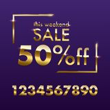 Golden Sale sign template. Vector golden This weekend Sale text with numbers for discount offer isolated on purple royalty free stock photography