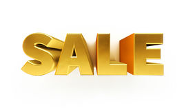 Golden sale text. 3d gold sale text isolated on white stock illustration
