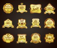 Golden sales labels icons collection Royalty Free Stock Image