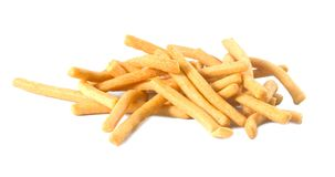 Golden Salted Crispy Breadsticks on A White Background Royalty Free Stock Photos