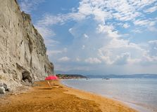 Golden sand on the beach on the island of Kefalonia in the Ionian Sea in Greece stock photo