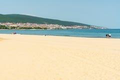 Golden sand of the beach of KK Sunny Beach in Bulgaria Royalty Free Stock Photography