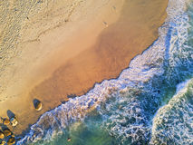Golden Sand and Clear Water. Clear water beach in the morning aerial view Stock Photos