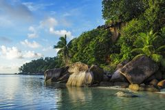 Beautiful idyllic paradise beach on the seychelles 3. Golden sand, granite rocks and palm trees at a beautiful idyllic paradise beach on the seychelles Royalty Free Stock Image