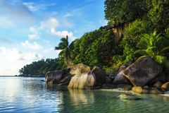 Beautiful idyllic paradise beach with granite rocks,palms and tu. Golden sand, granite rocks and palm trees at a beautiful idyllic paradise tropical beach on the Stock Photography