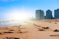 Golden Sand On Sunny Beach Stock Images