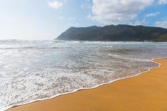 Golden sand in Porto Ferro coast Stock Photos