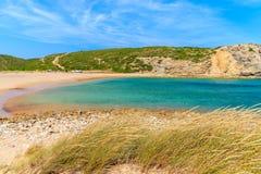 Golden sand Praia do Barranco beach Stock Images