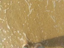 Golden sand. Sea water and beautiful golden sand stock images