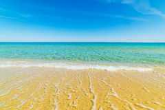 Golden sand and turquoise water in Cala Sinzias Stock Photos