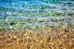 Free Golden Sand Under Clear Blue Sea Water And Sunlight Glow Reflection Close Up Top View, Yellow Sandy Texture Below Ocean Water Stock Photo - 161671640