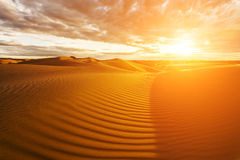 Golden sands and dunes of the desert. Mongolia Royalty Free Stock Photo