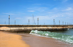 Golden Sands, pier and beach at the Black Sea Stock Images