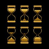 Golden sands of time, hourglass vector isolated symbols