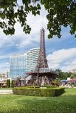Golden Sands Varna, Bulgaria 5 JUNE, 2016: Mini Eiffel Tower and International hotel in Golden Sands, Zlatni Piasaci. Popular summ Royalty Free Stock Photography