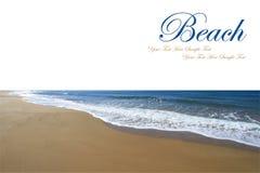 Sandy beach and Mediterranean sea Stock Photos