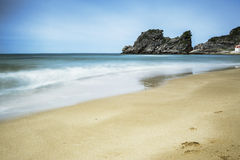 Golden sandy beach and Mediterranean sea Royalty Free Stock Photos
