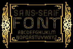 Golden sans-serif font on gold vintage frame background. Vector illustration Royalty Free Stock Image
