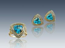 Golden sapphire  gifts Stock Photos