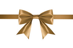 Golden satin ribbon Royalty Free Stock Images