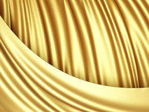 Golden satin silk cloth background with folds Stock Photography