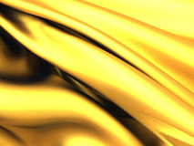 Golden satin silk waves luxury abstract background. 3d render illustration Stock Images