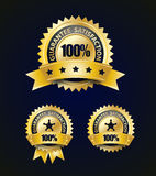 Golden Satisfaction Guarantee With Ribbon and stars Stock Photos