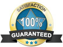 Golden guaranteed satisfaction web medal. Golden satisfaction 100% guaranteed badge Royalty Free Stock Photos